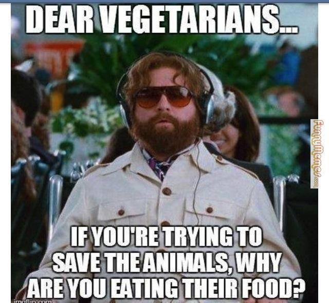 Dear Vegetarians, If you're trying to save the animals, why are you eating their food?